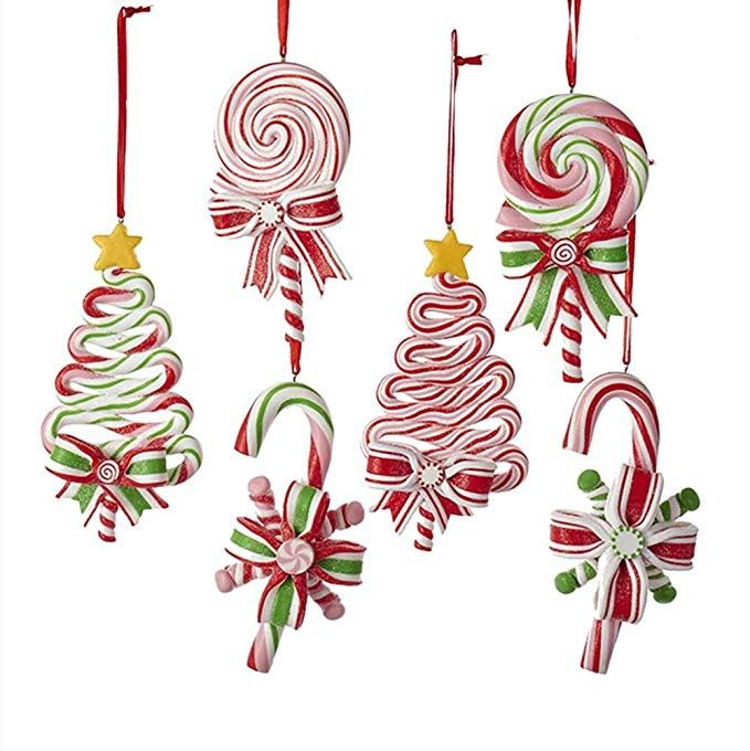 Sweet dreams! Peppermint-themed ornaments are right at home with pink.