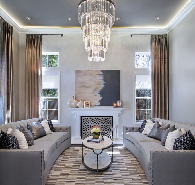 A sophisticated silver screen mixes well with gray upholstery.