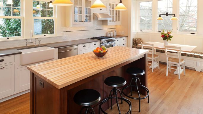 Add food-prep space as well as seating with an island.