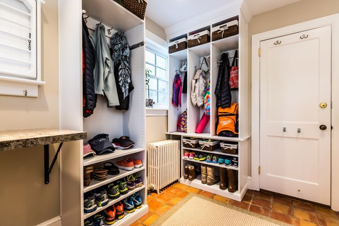 Extra hooks and cubbies for winter coats and snowy boots keep mudrooms tidy and clean.