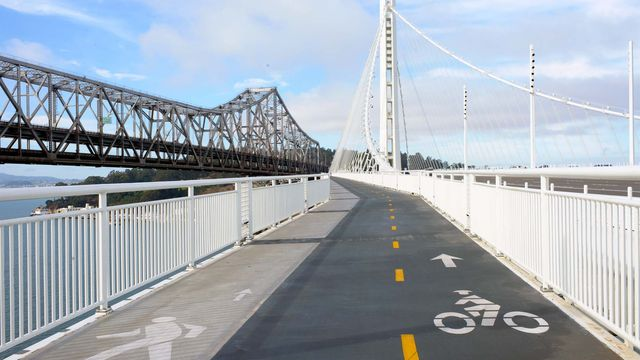 Bike lane on the Bay Bridge between Oakland and San Francisco