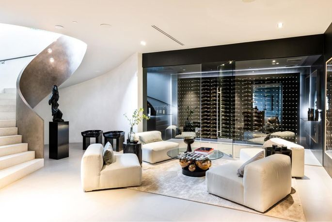 Glass-walled wine room