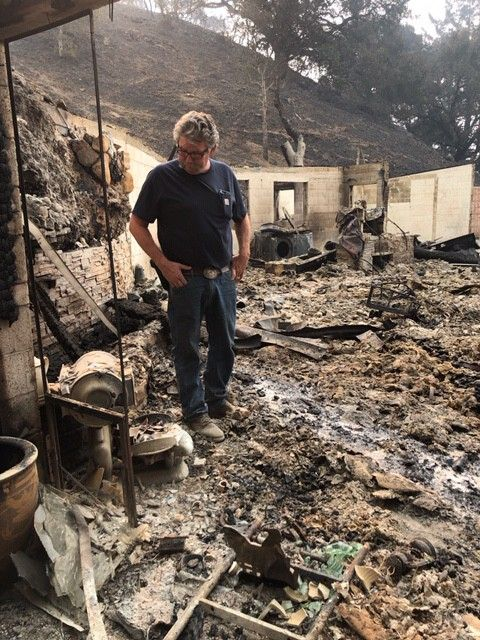 Worden surveys the damage on his Santa Rosa, CA, ranch.