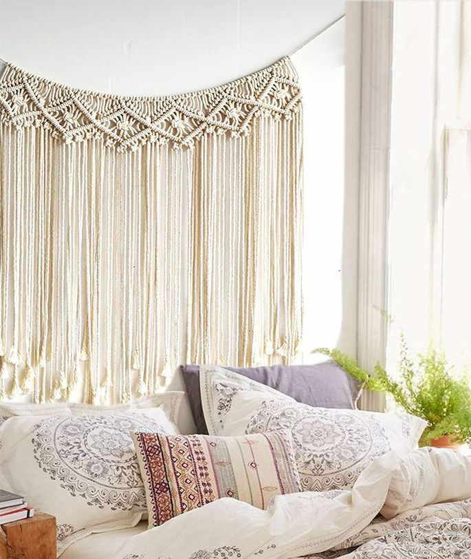 This string design could be a makeshift headboard or wall art.