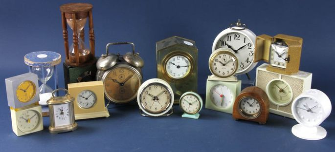 This collection of 18 clocks is up for bid at the Martha Stewart auction.
