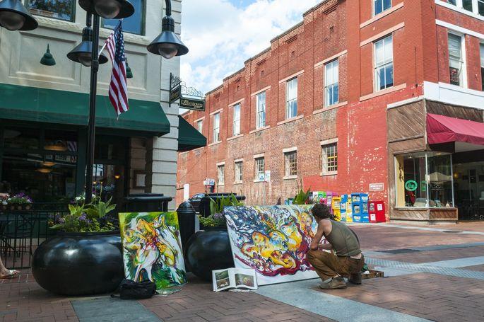 Street art lives in the center of Charlottesville.