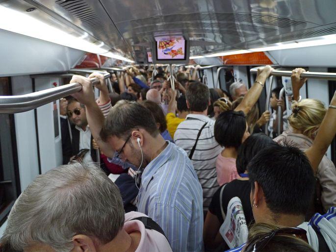 Subway train at rush hour