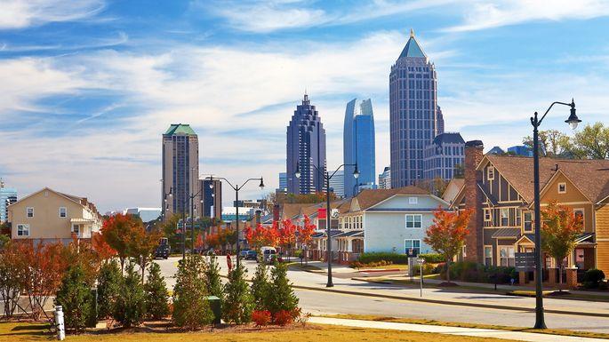 Houses against midtown Atlanta