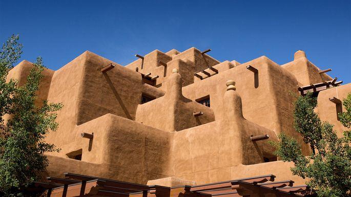 Pueblo-style adobe architecture is unique to Santa Fe, NM.