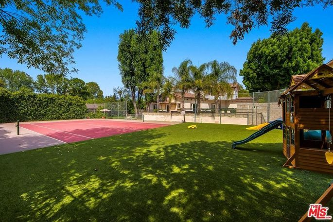 Tennis court and play yard