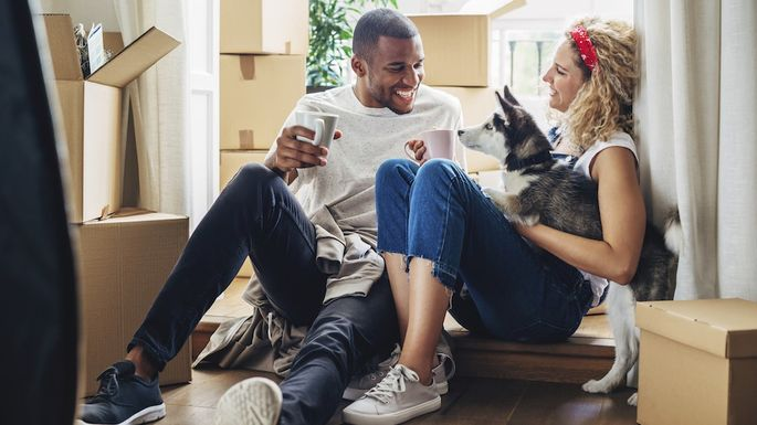 Happy couple playing with dog while sitting at doorway in new house