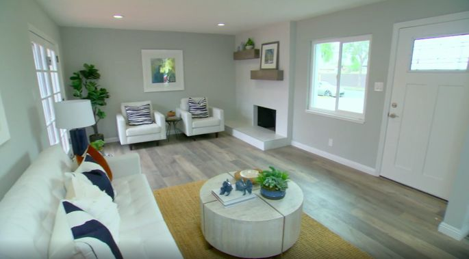 With the water damaged fixed, Tarek El Moussa and Christina Anstead could continue with the renovation—and design this beautiful living room.
