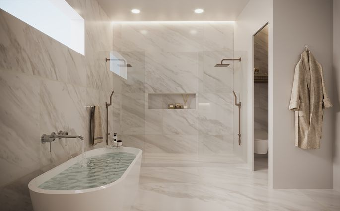 A bathroom Carrino helped build at Welcome Homes