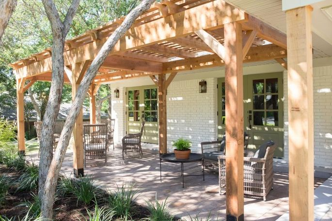 This outdoor living room provides sun-filled bonus space.