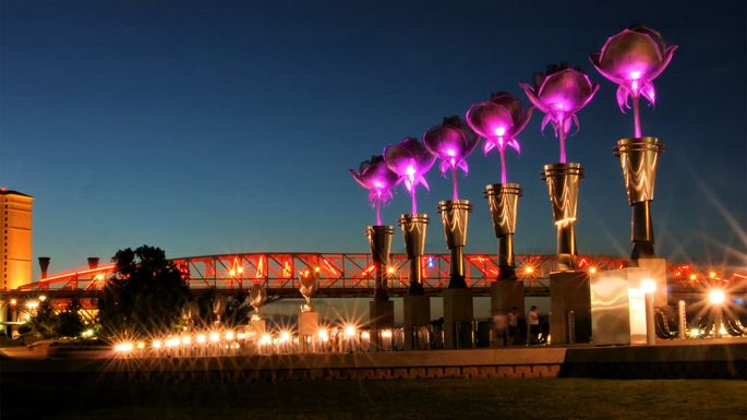 Tulip lights at Riverfront Park in Shreveport, LA