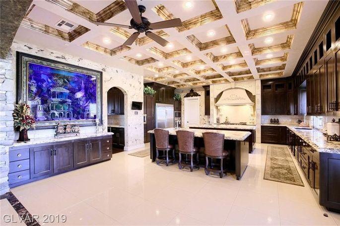 Kitchen with 700-gallon aquarium