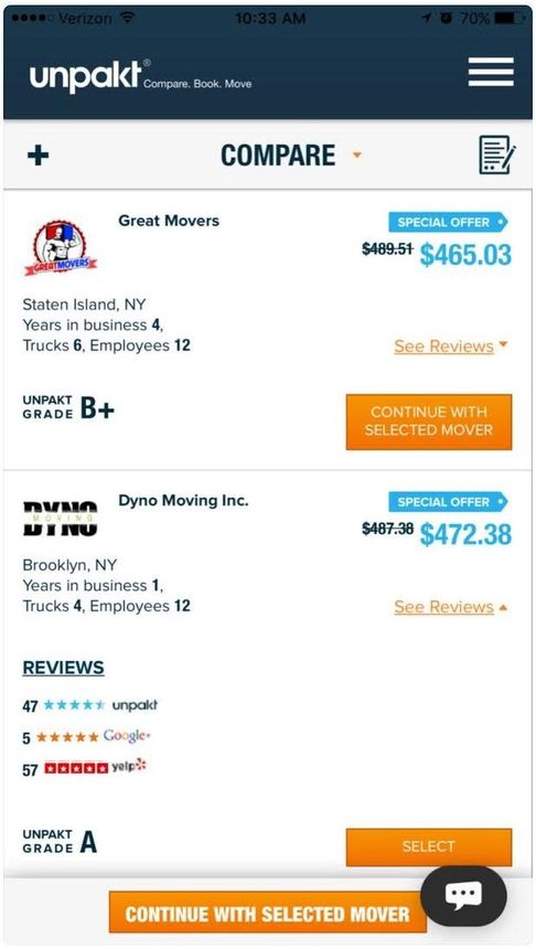 Find a moving company with Unpakt