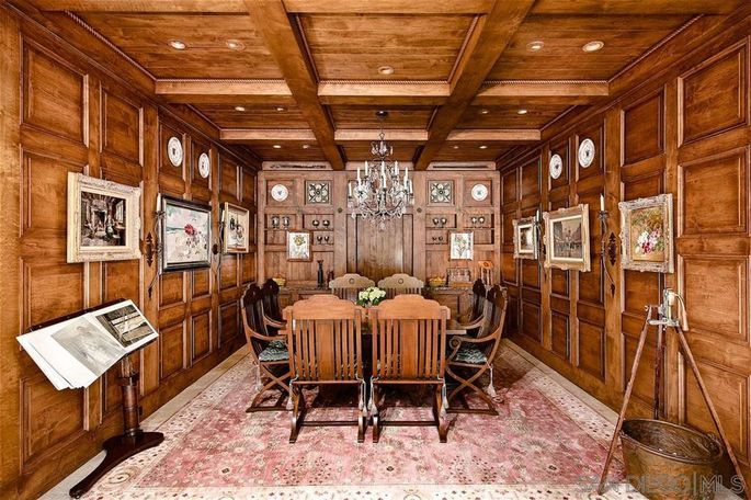 Wood-paneled dining room
