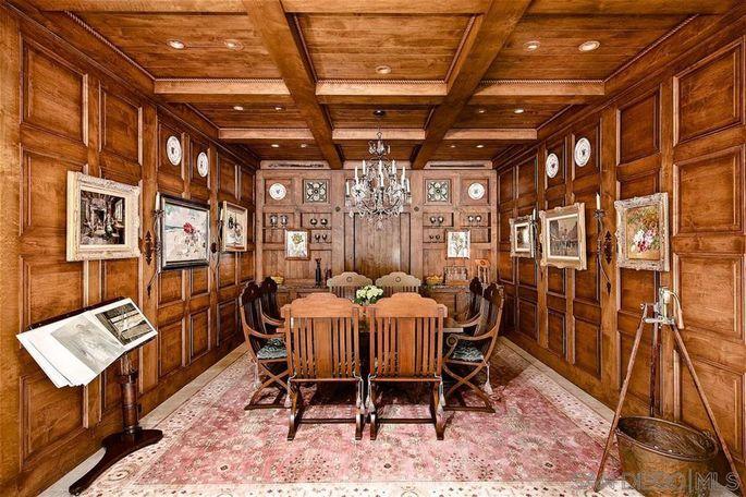 Wood-paneled dining room
