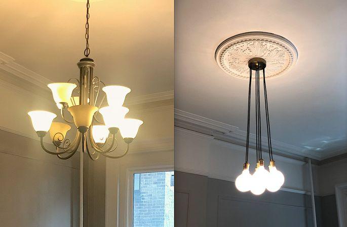 Left: Original light fixture Right: Replacement fixture