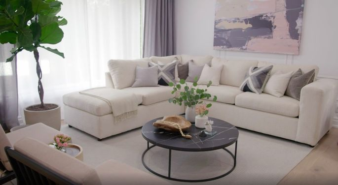 White walls and some new furniture make all the difference in this living room.