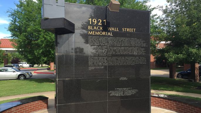 Black Wall Street memorial outside the Greenwood Cultural Center