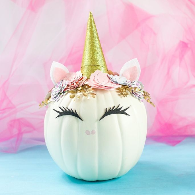 This cute unicorn is made from a no-carve pumpkin.