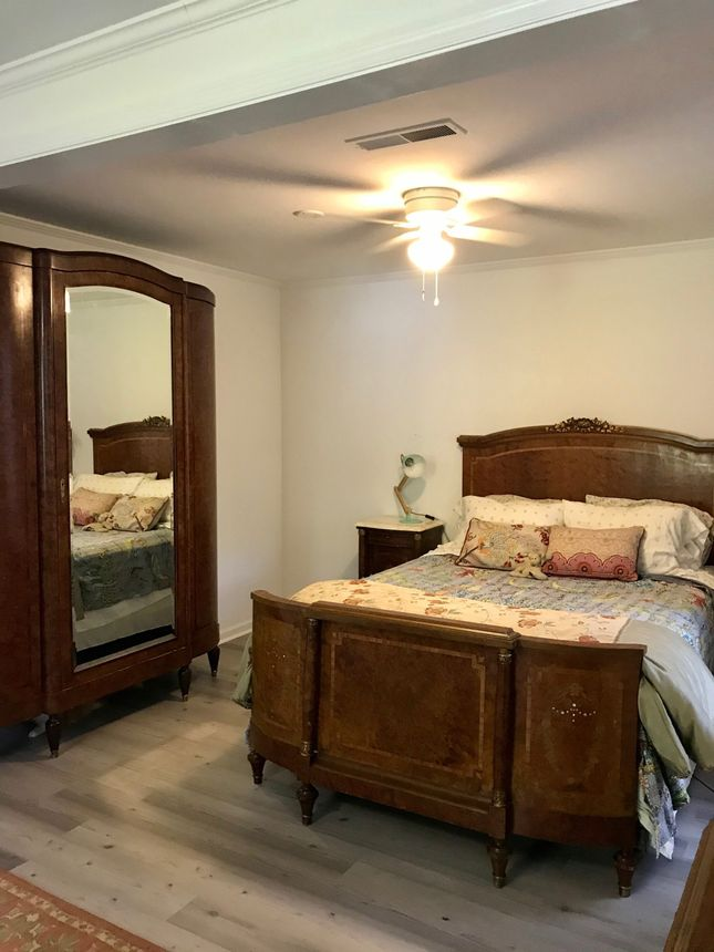 Caban's new bedroom—one of four in her Charleston home