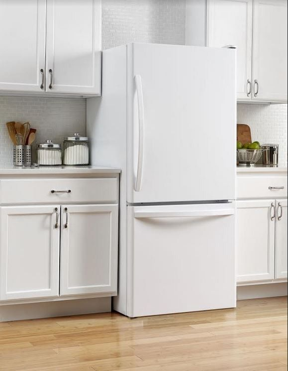 Refrigerator painted with white appliance paint