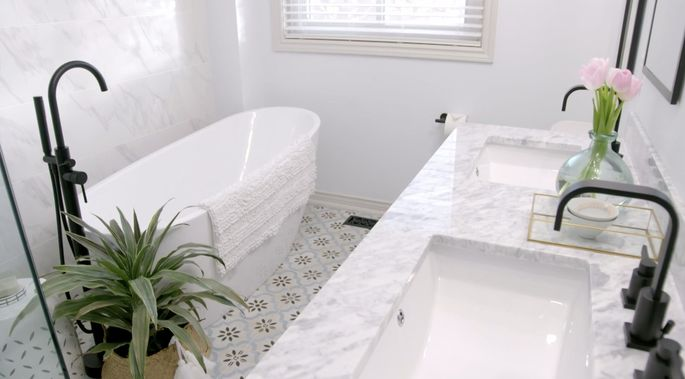 This glamorous bathroom deserved a beautiful new tub.