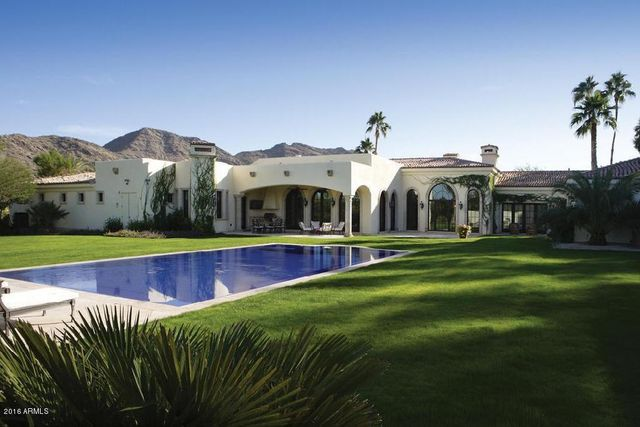 Pool and lush landscaping