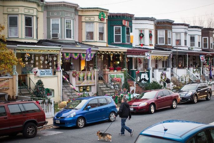 Decorations are in place ahead of last Saturday evening's holiday lighting ceremony on 34th Street in Baltimore's Hampden neighborhood. Credit: Nate Pesce for The Wall Street Journal