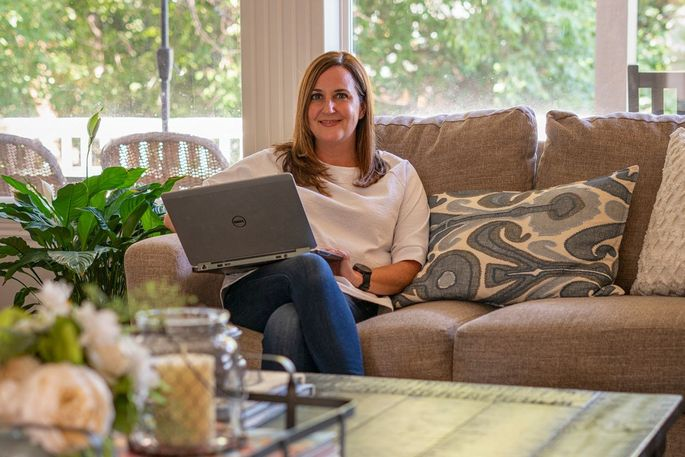 Kelly Swift, working from her home in Eagle, Idaho.