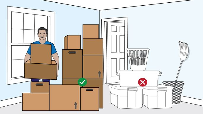 Moving boxes of similar shape and size are ideal.