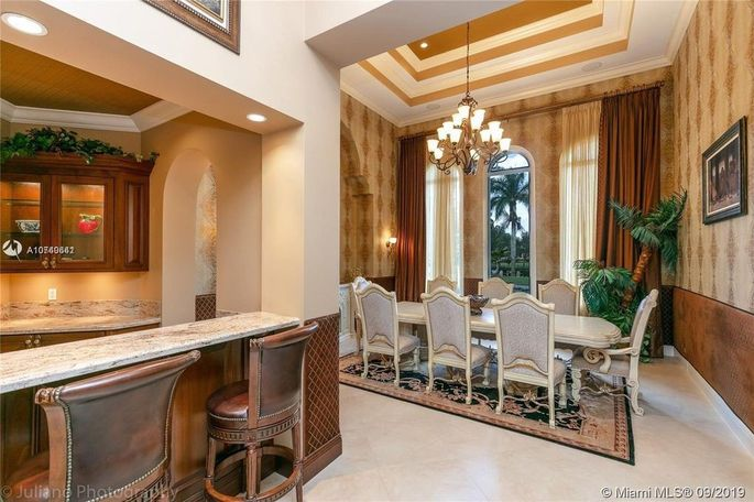 Formal dining room and bar