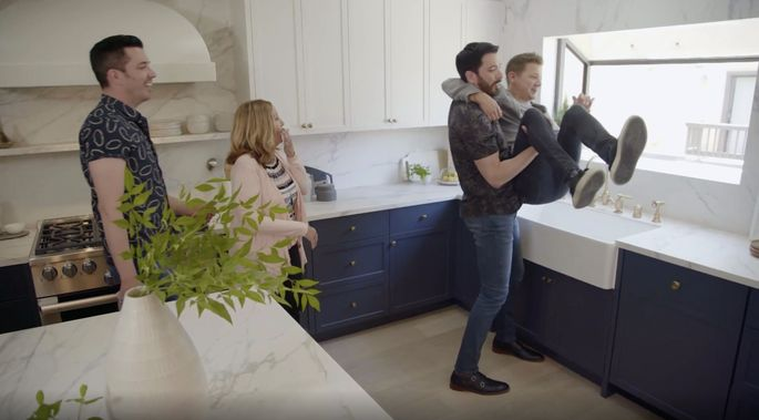 The Scott brothers and Renner sure had a lot of fun with this renovation!