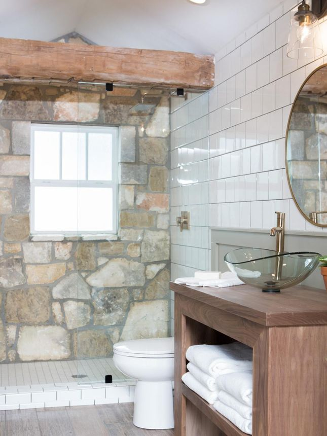 Stone From The Houses Old Exterior Is Used To Line A Bathroom