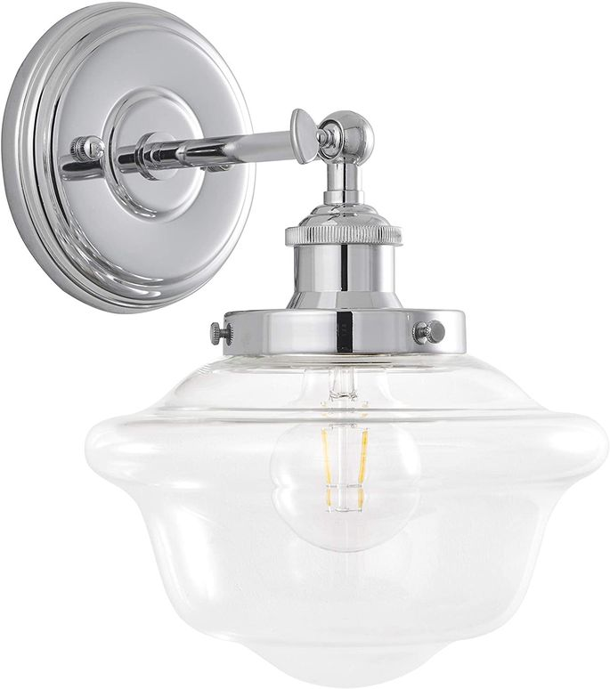 Shiny chrome and glass is the best combination for bathroom lighting.