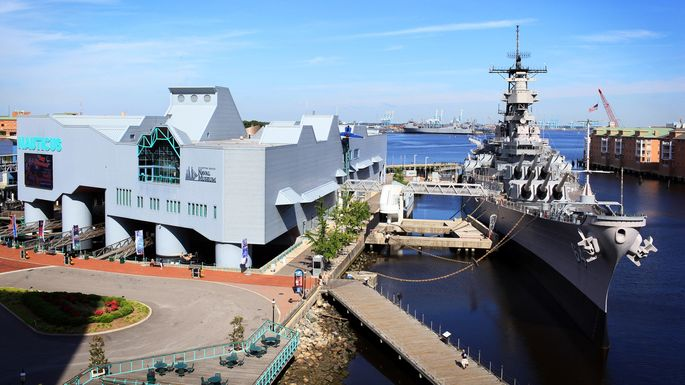 The Nauticus and the USS Wisconsin in Norfolk, VA