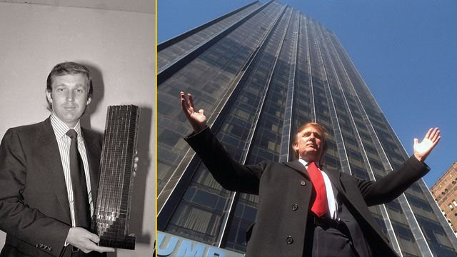 Donald Trump, with a model of Trump Tower in 1980, and outside the Tower in 1997.