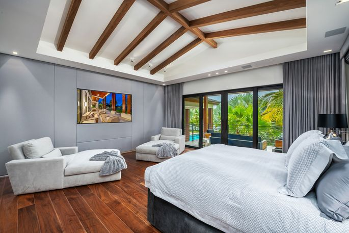 One of six bedrooms