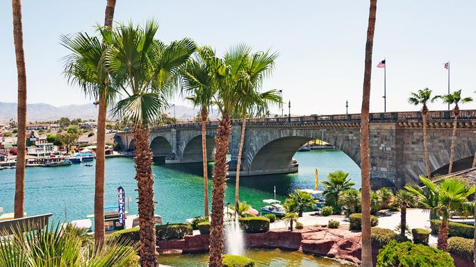 The famous London Bridge in Lake Havasu.