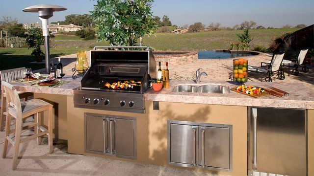 Increase the patio appeal with an outdoor kitchen.