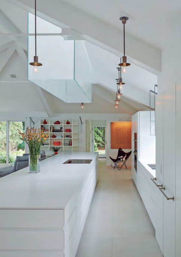 Skylights bring in light from above.