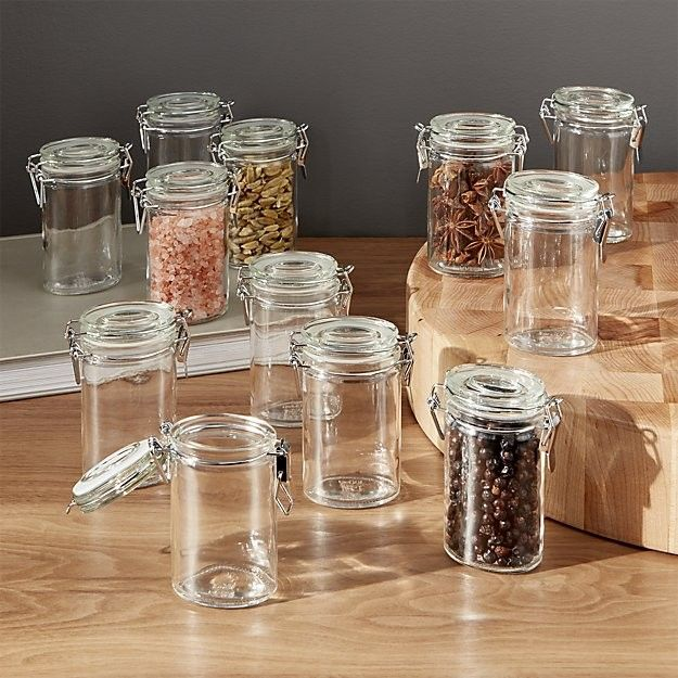 Glass jars with clamp lids