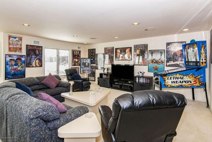 Home theater with movie memorabilia