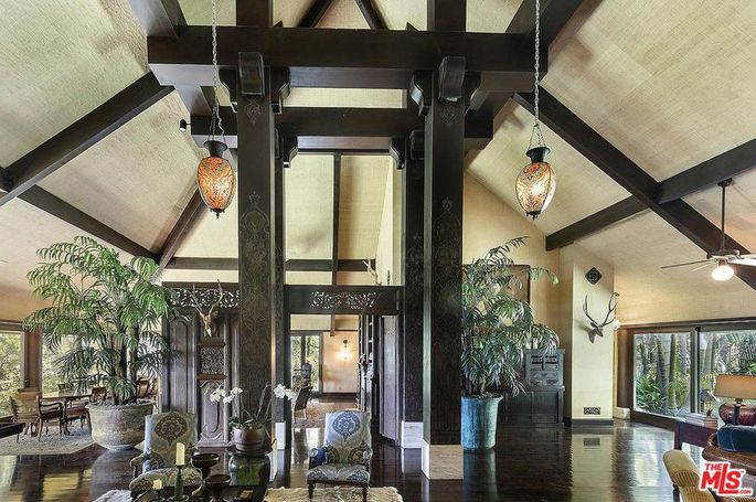 Great room with multiple beams