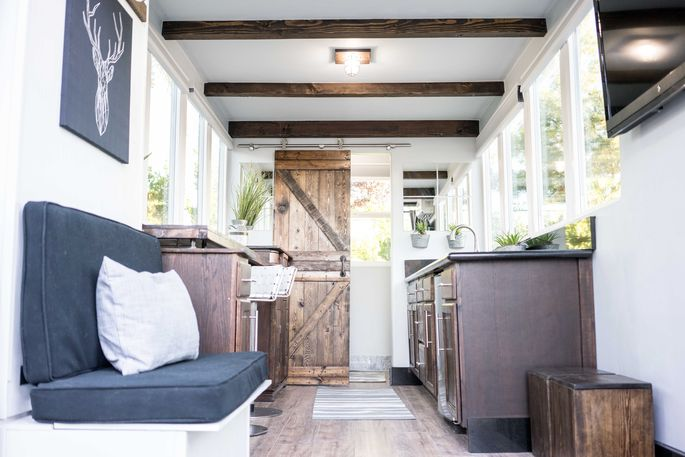 The interior of a shipping container home