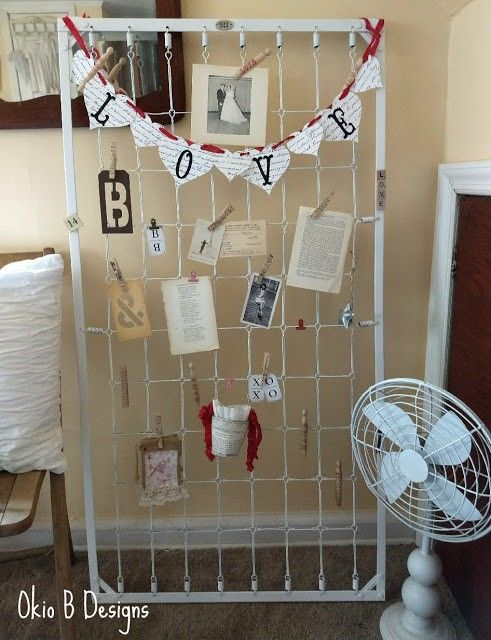 A bedspring-as-memory board holds to-do's, pictures, and keepsakes