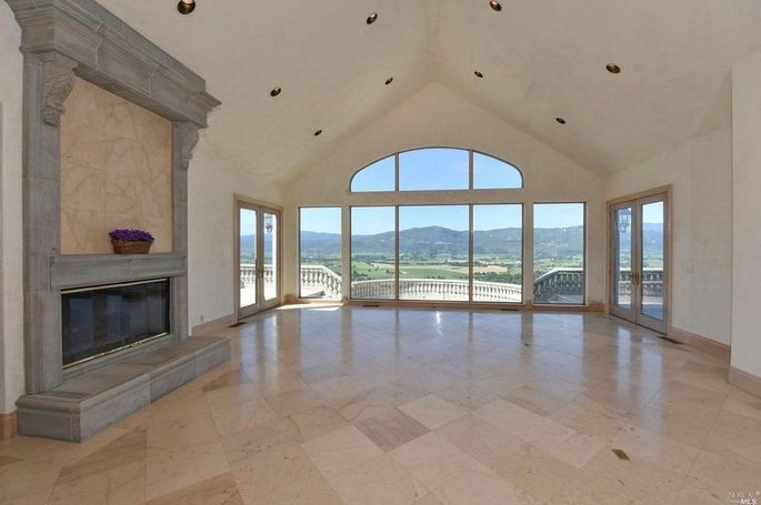 Living room with Napa Valley views